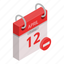 calendar, cartoon, concept, date, day, isometric, restricted