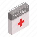 aid, calendar, care, cartoon, day, first, isometric