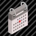 calendar, cartoon, date, day, diary, festive, isometric