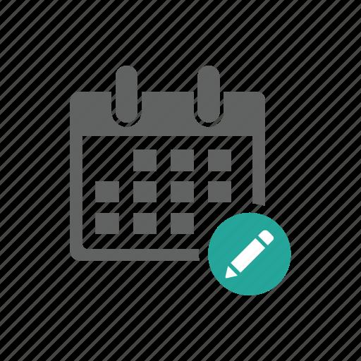 appointment, calendar, edit, pen, pencil, schedule, time icon