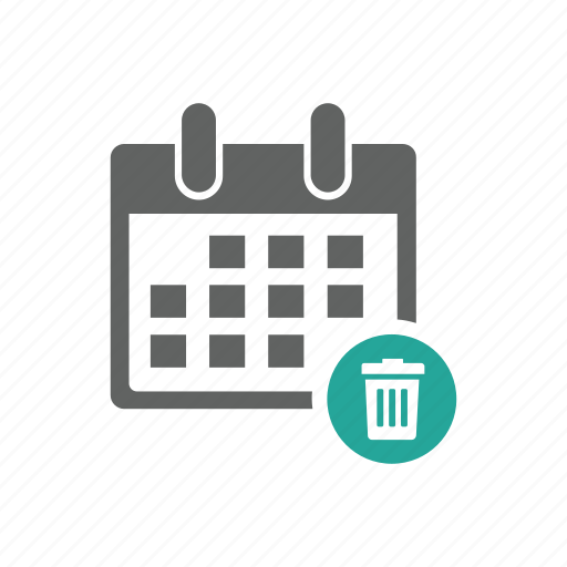 appointment, calendar, delete, remove, schedule, trash, trash bin icon