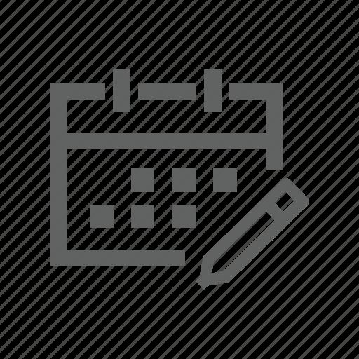 appointment, calendar, date, edit, pen, pencil, schedule icon