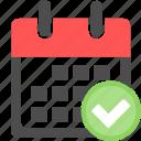 accept, calendar, check, checklist, date, ok, schedule icon