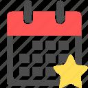 bookmark, calendar, date, favorite, favourite, schedule, star icon