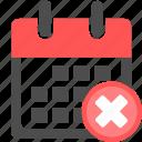 calendar, close, date, day, delete, month, remove icon