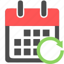 calendar, date, refresh, reload, schedule, sync, update icon
