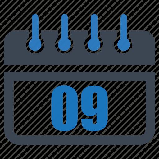 calendar, date, day, month, nine, reminder, schedule icon