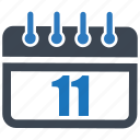 calendar, date, day, eleven, month, reminder, schedule icon