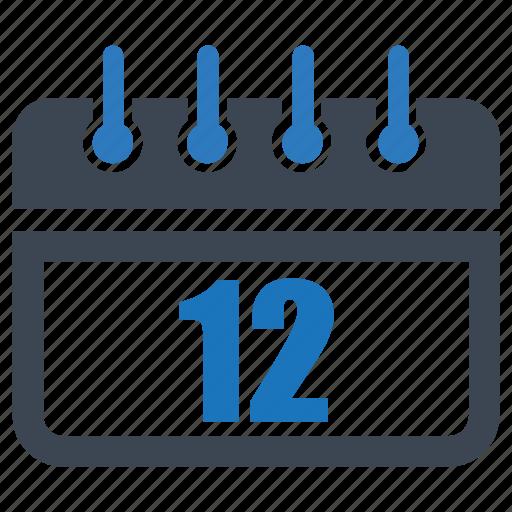 calendar, date, day, month, reminder, schedule, twelve icon