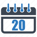 calendar, date, day, reminder, schedule, twenty icon