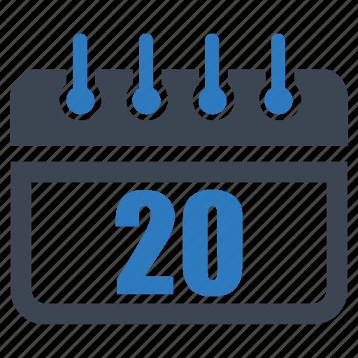 calendar, date, day, reminder, schedule, twenty icon