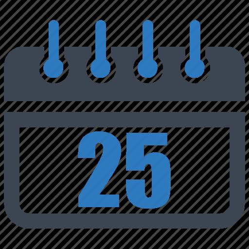 calendar, date, reminder, schedule, twenty five icon