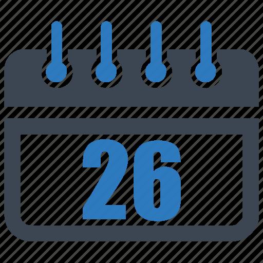 calendar, date, reminder, schedule, twenty six icon