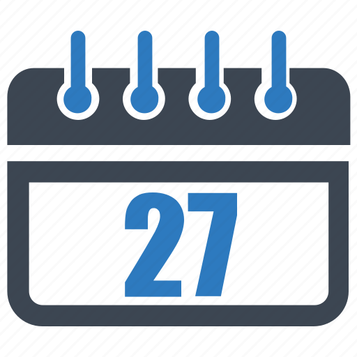 calendar, date, reminder, schedule, twenty seven icon
