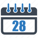 calender, date, reminder, schedule, twenty eight icon