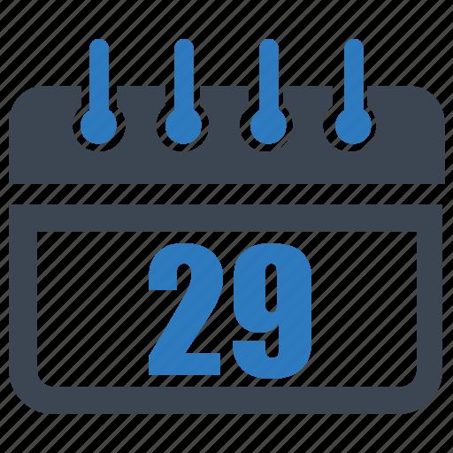 calendar, date, reminder, schedule, twenty nine icon