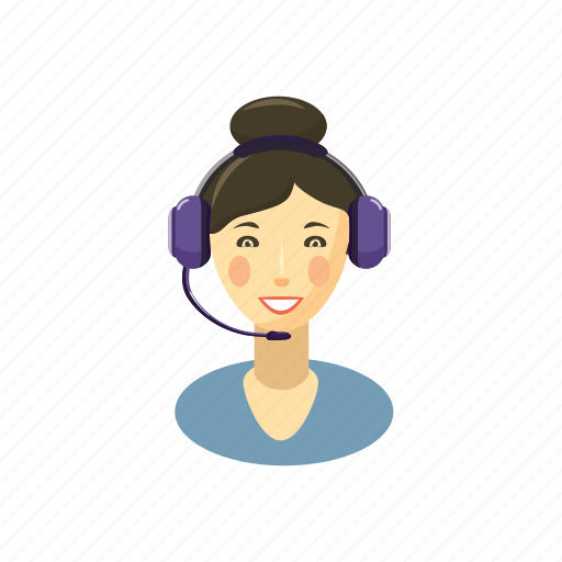 brunette, call, cartoon, helpdesk, operator, service, woman icon