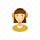 call, cartoon, customer, helpdesk, operator, service, woman icon
