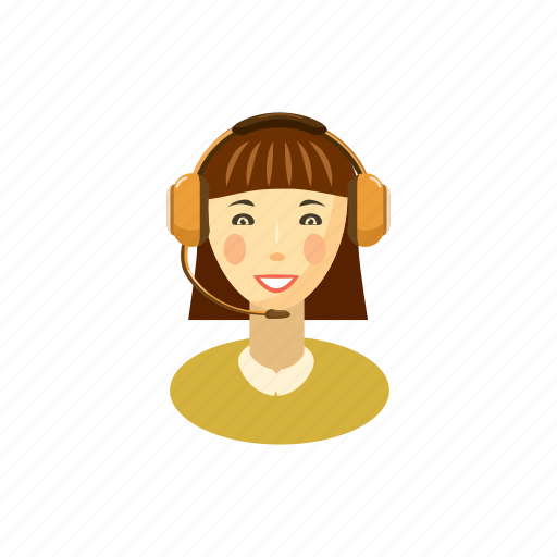 call, cartoon, customer, helpdesk, operator, service, woman icon