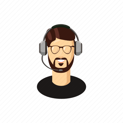 call, cartoon, glasses, helpdesk, man, operator, service icon