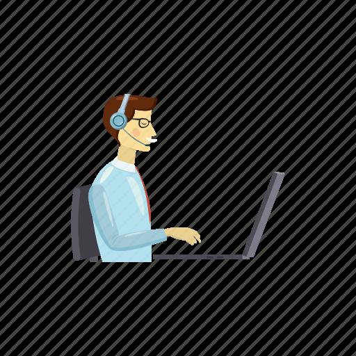 call, cartoon, helpdesk, laptop, man, operator, service icon