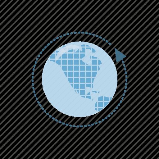 arrow, cartoon, earth, global, globe, planet, sphere icon
