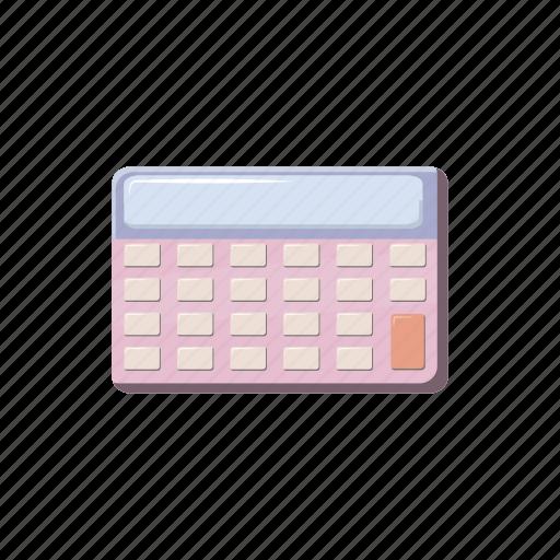 business, calculator, cartoon, electronic, math, mathematics, school icon