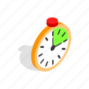 alarm, clock, isometric, minute, time, timer, wake icon