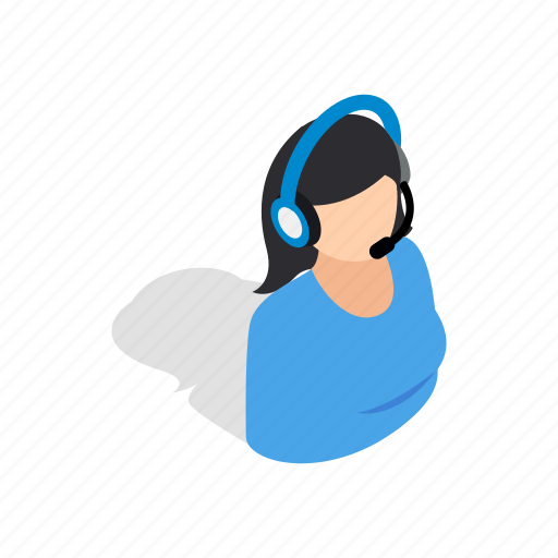 consultant, female, headphone, help, isometric, microphone, talking icon
