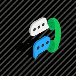 figures, isometric, phone, raise, sound, talking, tube icon
