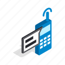 call, communication, contact, isometric, radio, talking, telephone icon