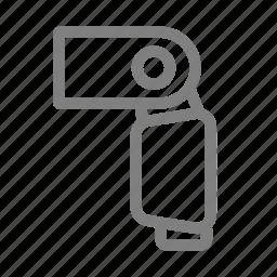 camera, dslr, flash, light, side icon