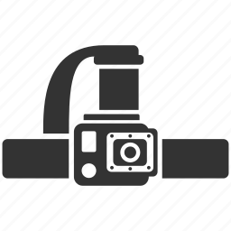 camera, explorer, gopro, head camera, head mount, photography, video icon