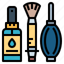 brushes, camera, cleaning, dust icon