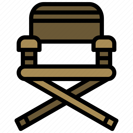 camping, chair, cinema, director, furniture, outline, seat icon