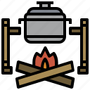 bonfire, burn, campfire, camping, flame, hot, nature icon