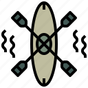 camping, canoe, kayak, olympic, sports, summertime, transport icon