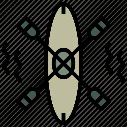 camping, canoe, kayak, olympic, sports, summertime, transport icon