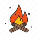camp, camping, fire, flame, spark, warm icon