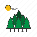 forest, hiking, landscape, nature, outdoor, tree, wood icon