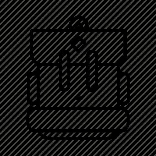 backpack, camping, kitbag, knapsask, mat, rucksack, travel icon