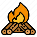 bonfire, camp, campfire, camping, fire, survival, travel icon