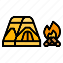 bonfire, camp, campfire, fire, survival, tent, travel