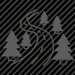 nature, road, tree, way icon