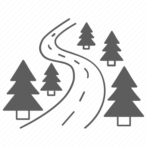 forest, nature, road, sign, tree, way icon