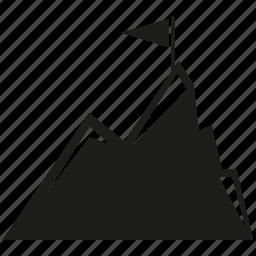 flag, goal, height, mount, mountain, success icon
