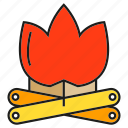 camp fire, fire, firewood, flame, log, lumber, timber icon