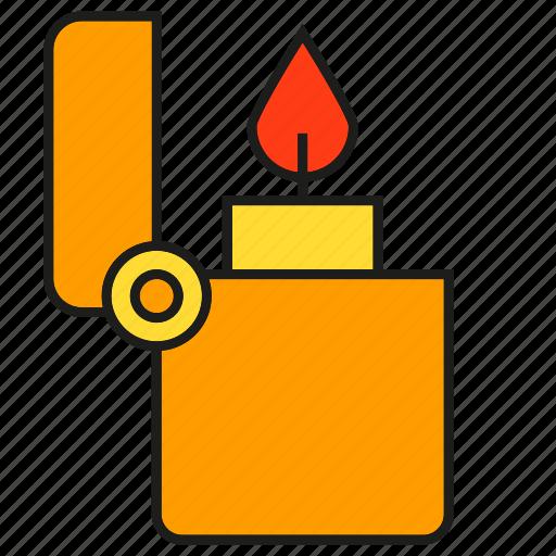 Fire, flicker, flip, flint, lighter, fuel, flame icon