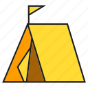 camp, flag, habitation, rest, tent, vacation icon