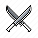 axe, forest, gray, knife, metal icon